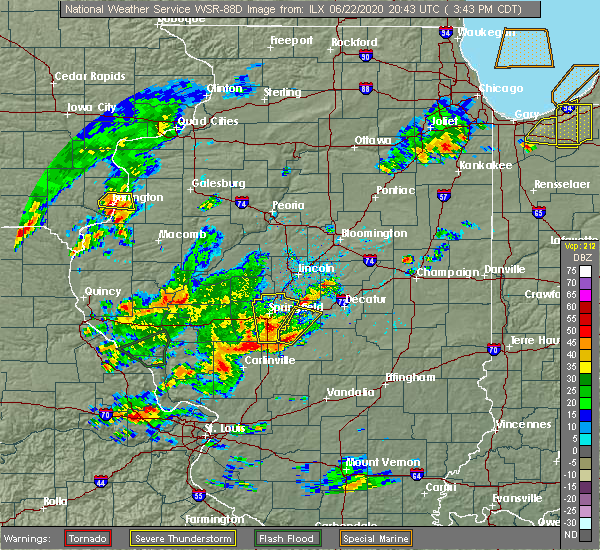 Radar Image for Severe Thunderstorms near Sherman, IL at 6/22/2020 3:48 PM CDT