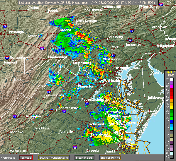 Radar Image for Severe Thunderstorms near Walkersville, MD at 6/22/2020 4:54 PM EDT
