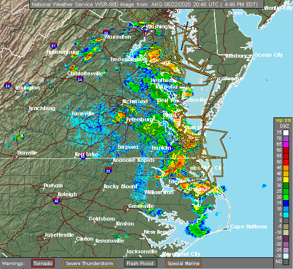 Radar Image for Severe Thunderstorms near Suffolk, VA at 6/22/2020 4:55 PM EDT