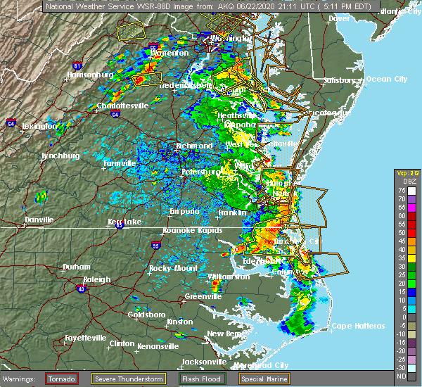 Radar Image for Severe Thunderstorms near Hertford, NC at 6/22/2020 5:19 PM EDT