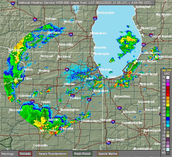 Radar Image for Severe Thunderstorms near Spring Valley, IL at 6/22/2020 4:21 PM CDT