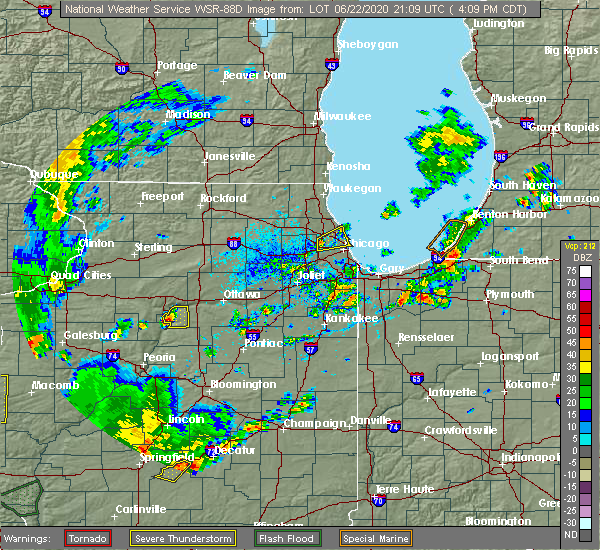 Radar Image for Severe Thunderstorms near Evanston, IL at 6/22/2020 4:22 PM CDT