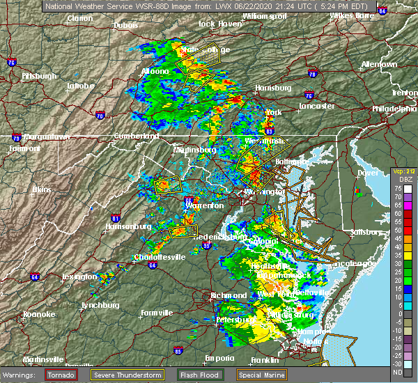 Radar Image for Severe Thunderstorms near Scaggsville, MD at 6/22/2020 5:26 PM EDT