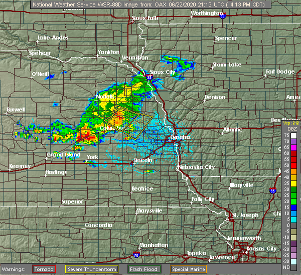 Radar Image for Severe Thunderstorms near Cedar Bluffs, NE at 6/22/2020 4:30 PM CDT