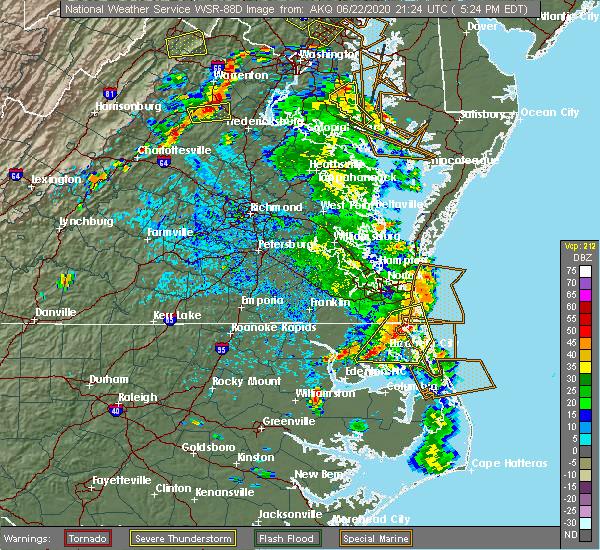 Radar Image for Severe Thunderstorms near Chesapeake, VA at 6/22/2020 5:31 PM EDT