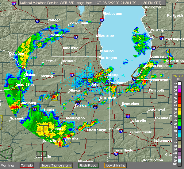 Radar Image for Severe Thunderstorms near Evanston, IL at 6/22/2020 4:38 PM CDT