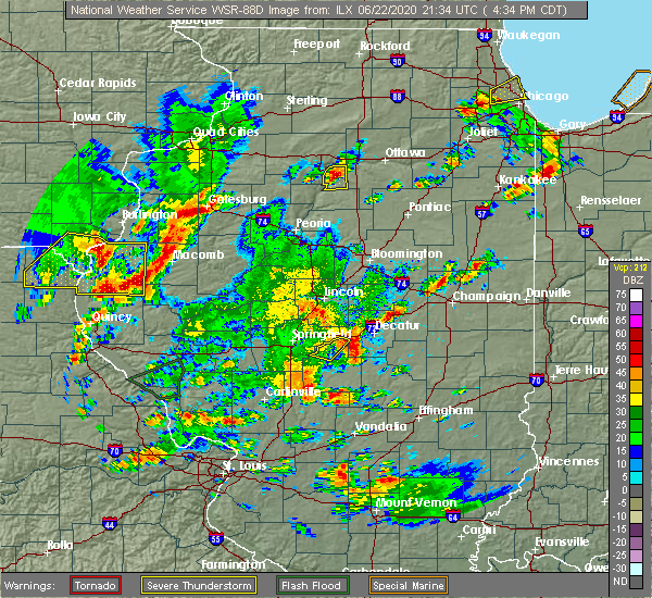 Radar Image for Severe Thunderstorms near Blue Mound, IL at 6/22/2020 4:38 PM CDT
