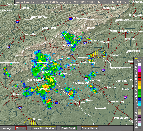 Radar Image for Severe Thunderstorms near Charlotte, NC at 6/22/2020 5:47 PM EDT
