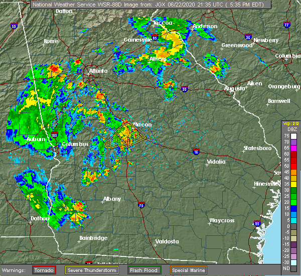 Radar Image for Severe Thunderstorms near Toomsboro, GA at 6/22/2020 5:51 PM EDT