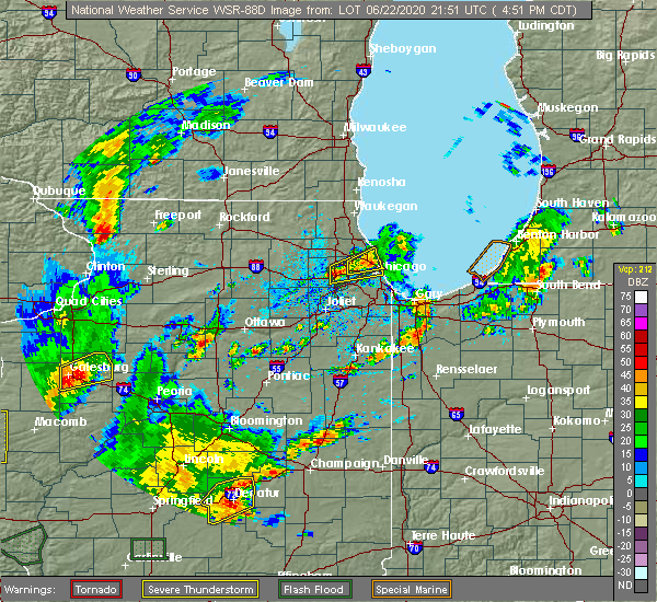 Radar Image for Severe Thunderstorms near Evanston, IL at 6/22/2020 4:56 PM CDT