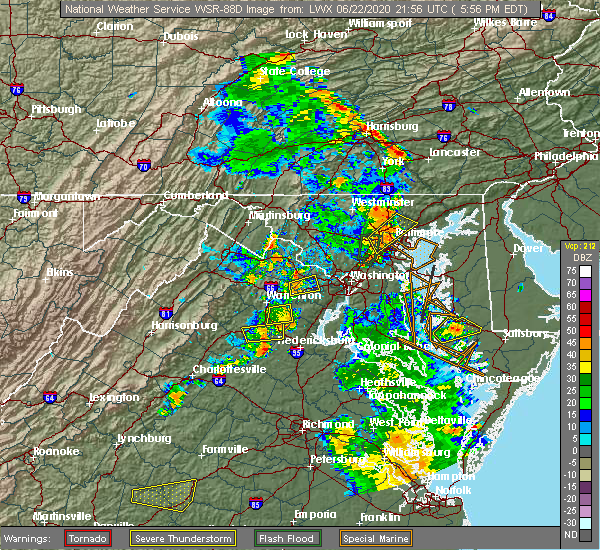 Radar Image for Severe Thunderstorms near Chantilly, VA at 6/22/2020 6:07 PM EDT