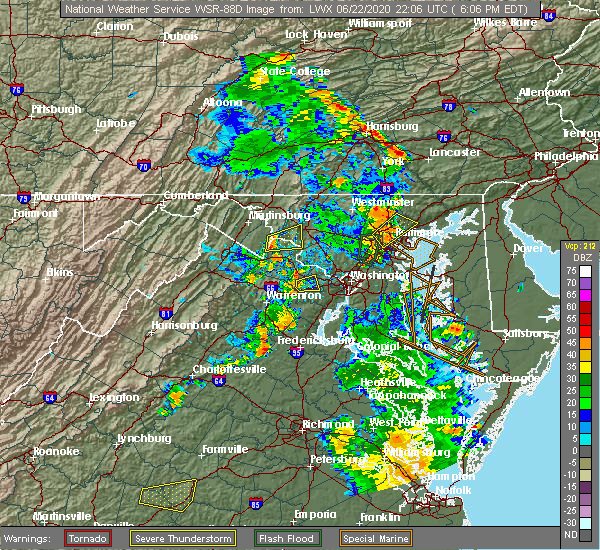 Radar Image for Severe Thunderstorms near Woodlawn, MD at 6/22/2020 6:09 PM EDT