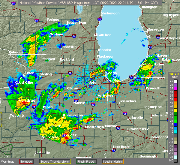 Radar Image for Severe Thunderstorms near Evanston, IL at 6/22/2020 5:09 PM CDT