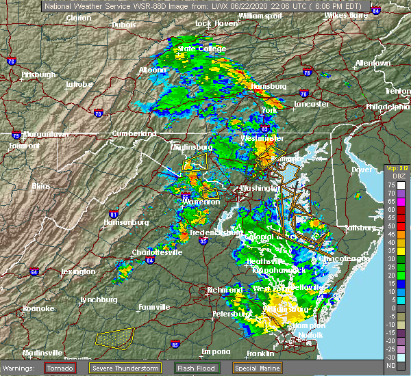 Radar Image for Severe Thunderstorms near Jarrettsville, MD at 6/22/2020 6:14 PM EDT