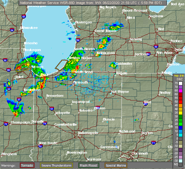 Radar Image for Severe Thunderstorms near Dowagiac, MI at 6/22/2020 6:14 PM EDT