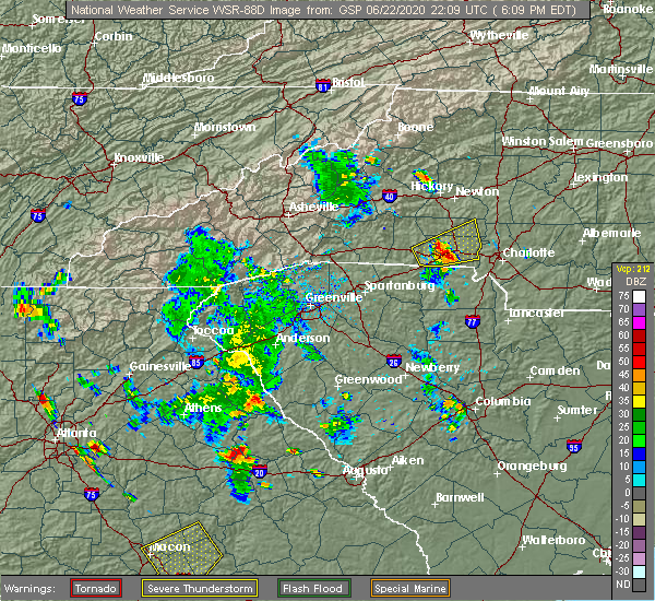 Radar Image for Severe Thunderstorms near Charlotte, NC at 6/22/2020 6:16 PM EDT