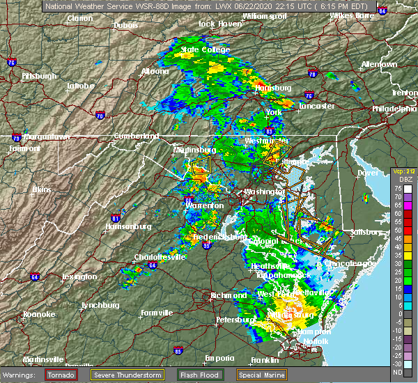Radar Image for Severe Thunderstorms near Jefferson, MD at 6/22/2020 6:22 PM EDT