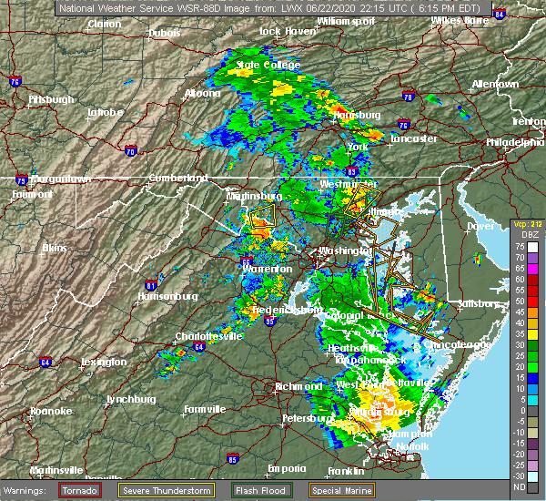 Radar Image for Severe Thunderstorms near Rosemont, MD at 6/22/2020 6:22 PM EDT