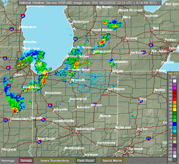 Radar Image for Severe Thunderstorms near Dowagiac, MI at 6/22/2020 6:28 PM EDT