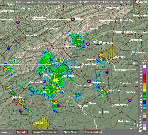 Radar Image for Severe Thunderstorms near Concord, NC at 6/22/2020 6:27 PM EDT