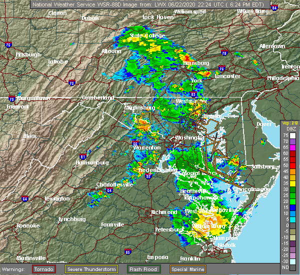 Radar Image for Severe Thunderstorms near Jarrettsville, MD at 6/22/2020 6:32 PM EDT