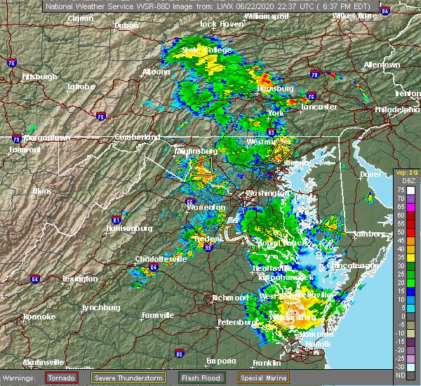 Radar Image for Severe Thunderstorms near Rosemont, MD at 6/22/2020 6:40 PM EDT