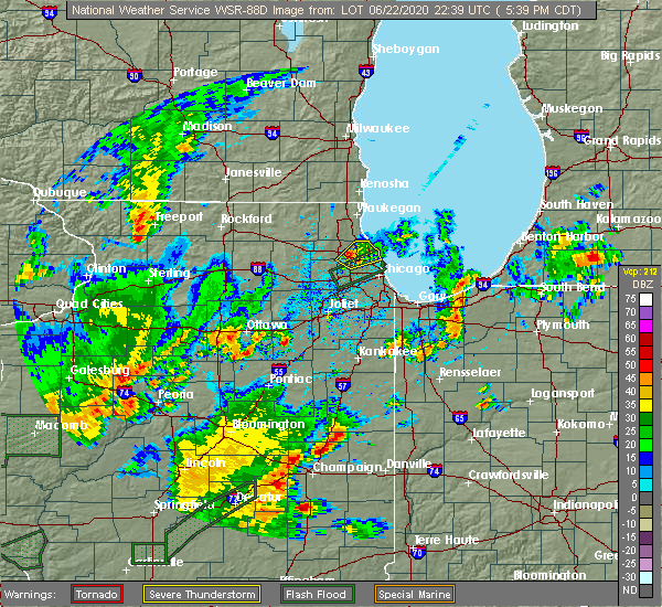 Radar Image for Severe Thunderstorms near Evanston, IL at 6/22/2020 5:42 PM CDT
