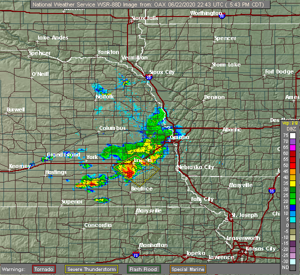 Radar Image for Severe Thunderstorms near Syracuse, NE at 6/22/2020 5:48 PM CDT
