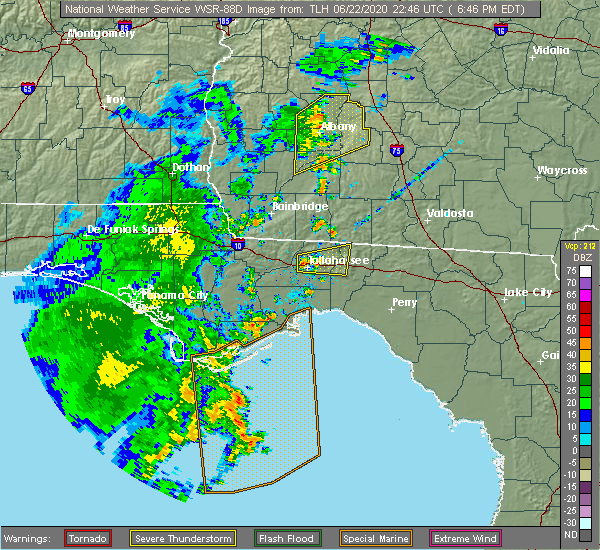 Radar Image for Severe Thunderstorms near Tallahassee, FL at 6/22/2020 6:49 PM EDT