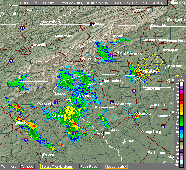 Radar Image for Severe Thunderstorms near Concord, NC at 6/22/2020 6:51 PM EDT