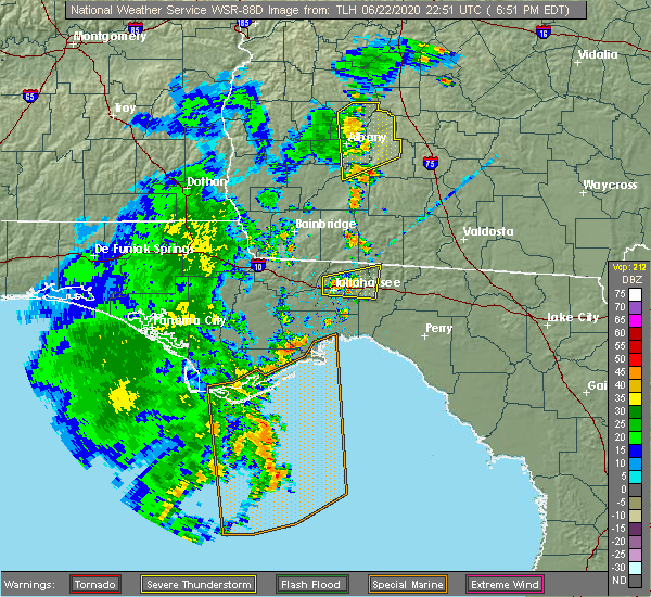 Radar Image for Severe Thunderstorms near Thomasville, GA at 6/22/2020 6:58 PM EDT