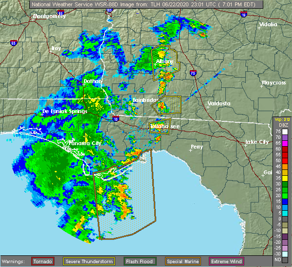 Radar Image for Severe Thunderstorms near Tallahassee, FL at 6/22/2020 7:04 PM EDT