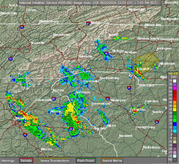 Radar Image for Severe Thunderstorms near Landis, NC at 6/22/2020 7:10 PM EDT