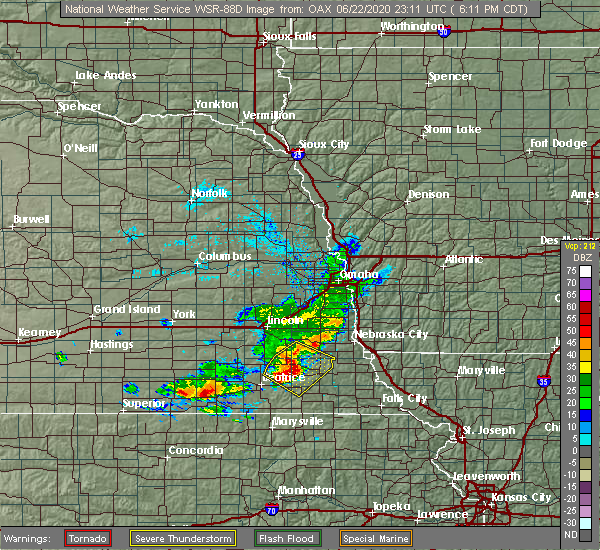Radar Image for Severe Thunderstorms near Pawnee City, NE at 6/22/2020 6:18 PM CDT