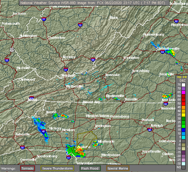 Radar Image for Severe Thunderstorms near Landis, NC at 6/22/2020 7:23 PM EDT