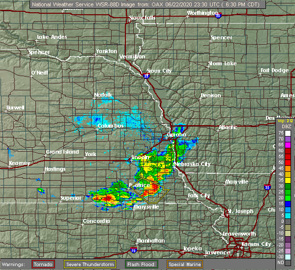 Radar Image for Severe Thunderstorms near Pawnee City, NE at 6/22/2020 6:38 PM CDT