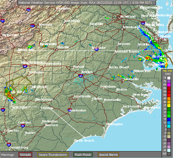 Radar Image for Severe Thunderstorms near Ansonville, NC at 6/22/2020 7:45 PM EDT