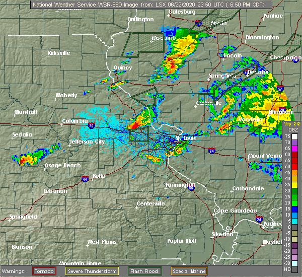 Radar Image for Severe Thunderstorms near Troy, MO at 6/22/2020 6:54 PM CDT