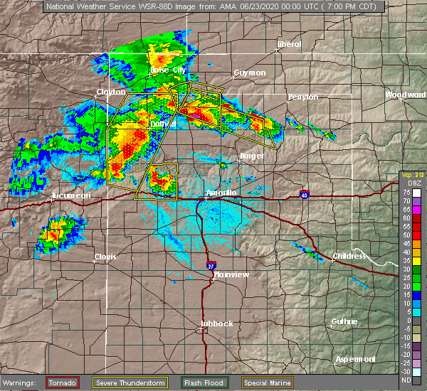 Radar Image for Severe Thunderstorms near Fritch, TX at 6/22/2020 7:06 PM CDT