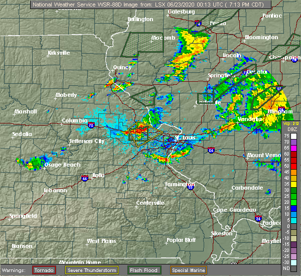 Radar Image for Severe Thunderstorms near Wright City, MO at 6/22/2020 7:16 PM CDT