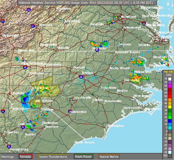 Radar Image for Severe Thunderstorms near Pinehurst, NC at 6/22/2020 8:38 PM EDT