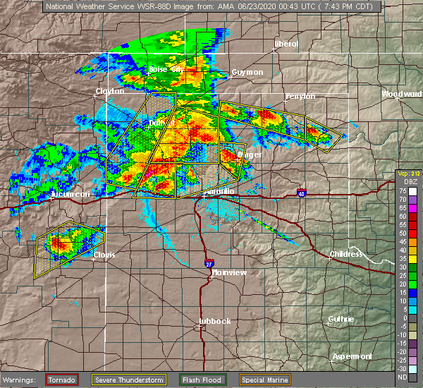 Radar Image for Severe Thunderstorms near Canadian, TX at 6/22/2020 7:45 PM CDT