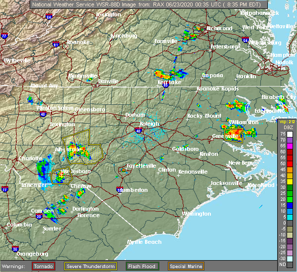 Radar Image for Severe Thunderstorms near Lilesville, NC at 6/22/2020 8:48 PM EDT
