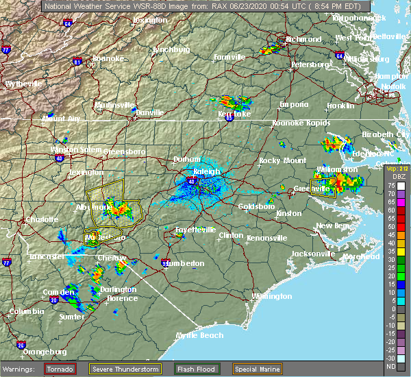 Radar Image for Severe Thunderstorms near Lilesville, NC at 6/22/2020 8:58 PM EDT