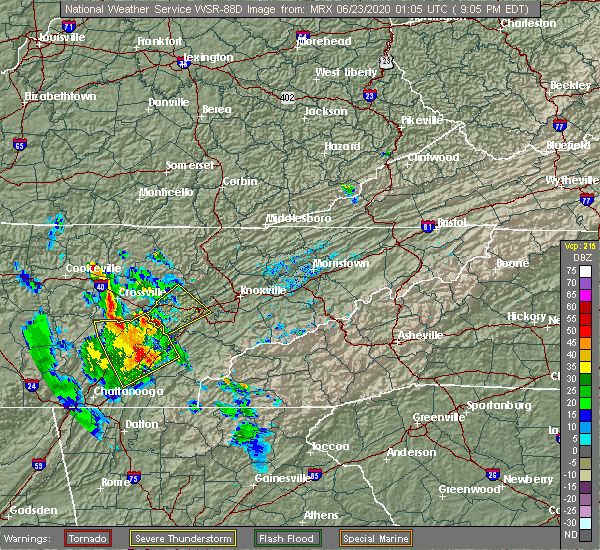 Radar Image for Severe Thunderstorms near Midtown, TN at 6/22/2020 9:07 PM EDT