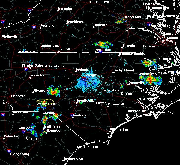 Radar Image for Severe Thunderstorms near Ellerbe, NC at 6/22/2020 9:08 PM EDT