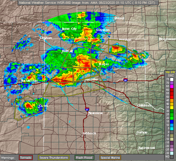 Radar Image for Severe Thunderstorms near Canadian, TX at 6/22/2020 8:15 PM CDT