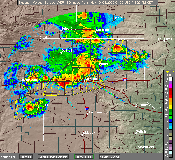 Radar Image for Severe Thunderstorms near Fritch, TX at 6/22/2020 8:21 PM CDT