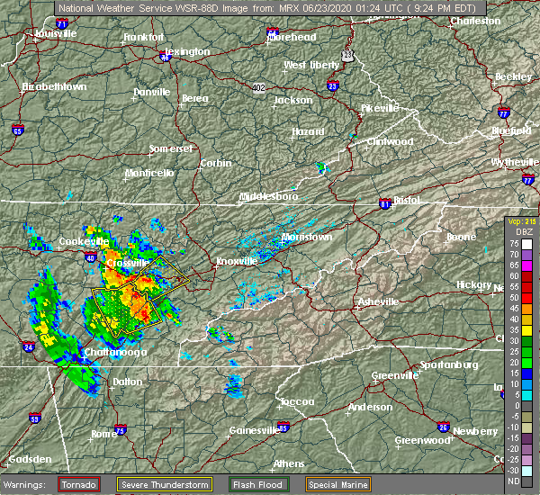 Radar Image for Severe Thunderstorms near Athens, TN at 6/22/2020 9:32 PM EDT