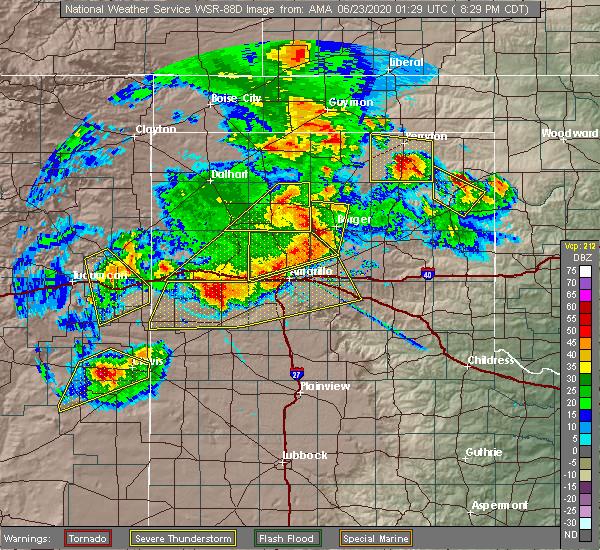 Radar Image for Severe Thunderstorms near Hooker, OK at 6/22/2020 8:34 PM CDT